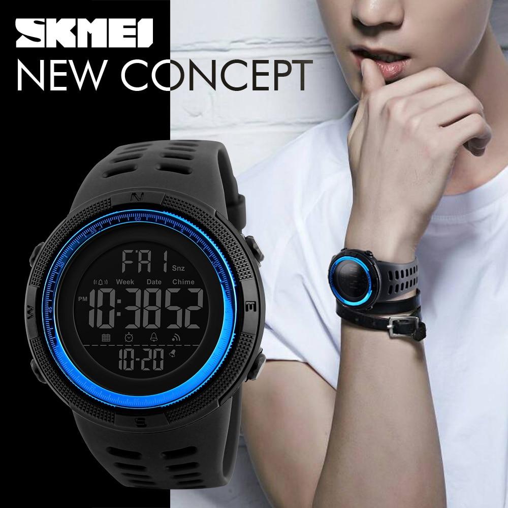 SKMEI Männer Outdoor-sportarten Uhren Countdown Doppel Zeit LED Digital Armbanduhren Uhren Wasserdicht Relogio Masculino Schwarz 1251