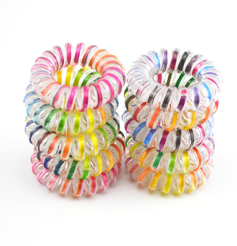 10pcs/lo Hair Accessories Telephone Cord Phone Plastic Headband Scrunchy Hair Band Hair Rope Headband 3.5cm Colorful
