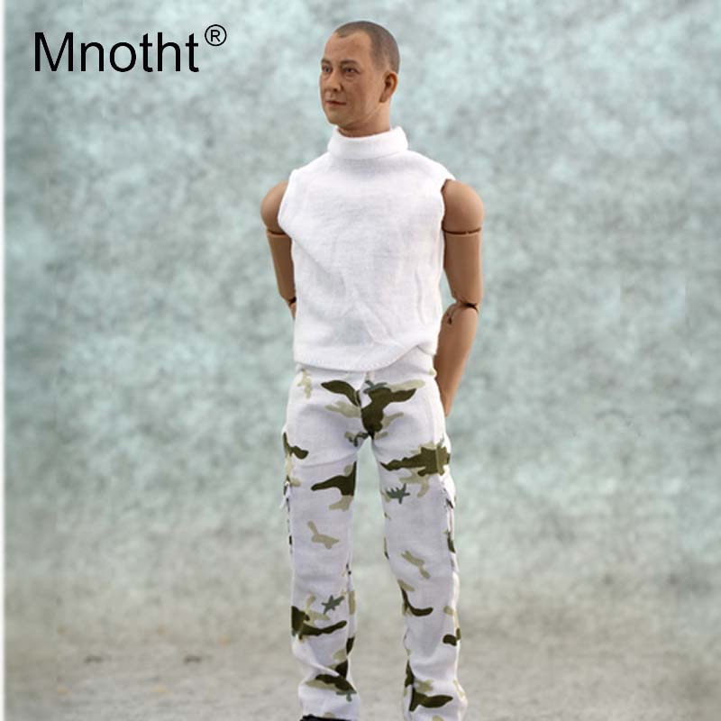Mnotht 1/6 Scale Male Soldier Snow camouflage pants Model Fashion Long Trousers For 12in Action Figure Body Model Collection mt