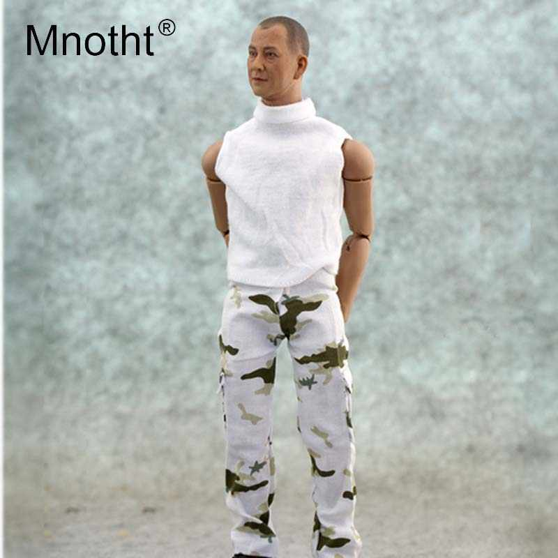 Mnotht 1/6 skala mężczyzna żołnierz śnieg kamuflaż spodnie Model moda długie spodnie dla 12in figurka ciała Model kolekcja mt