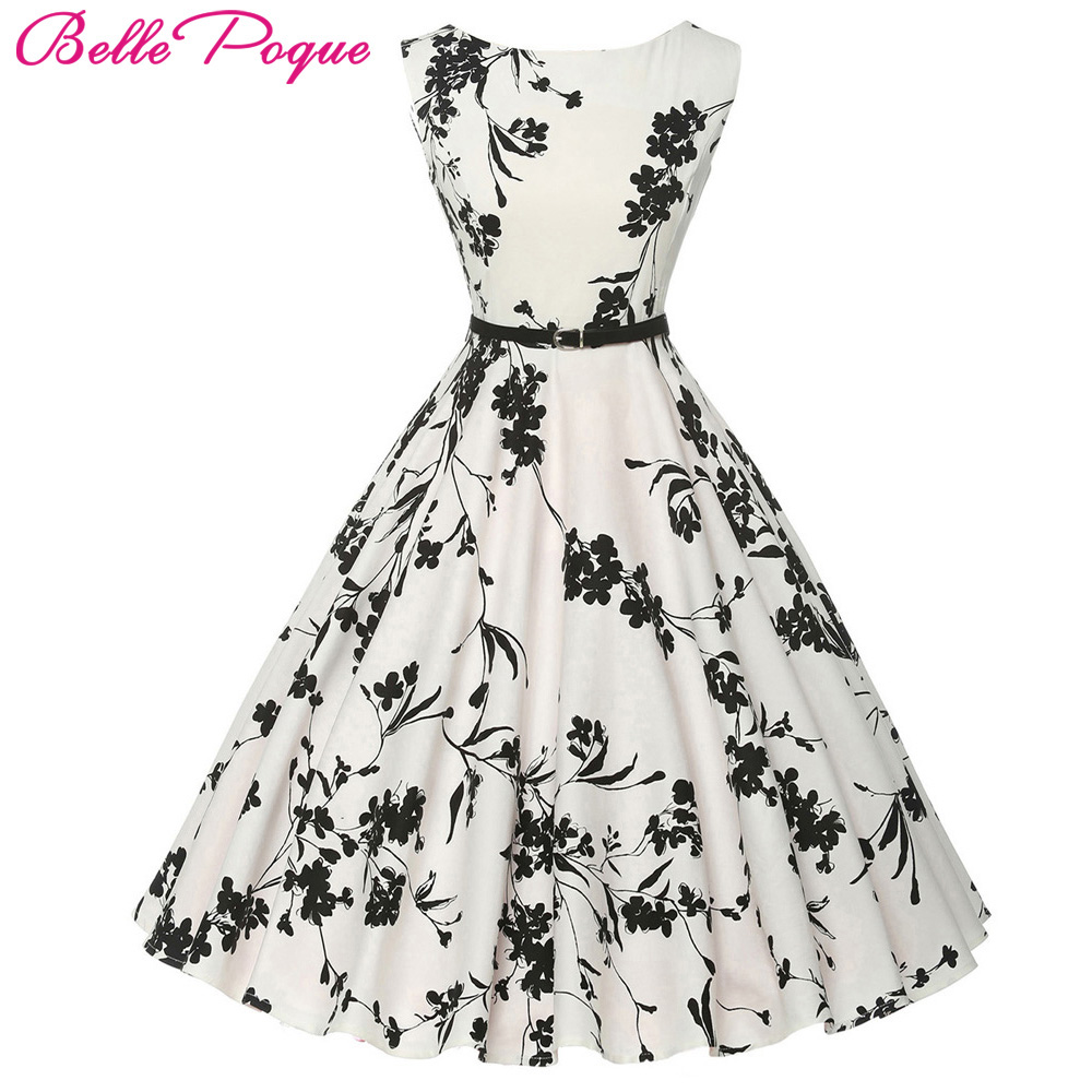 Buy Cheap Women Summer Dress 2017 plus size clothing Audrey hepburn Floral robe Retro Swing Casual 50s Vintage Rockabilly Dresses Vestidos