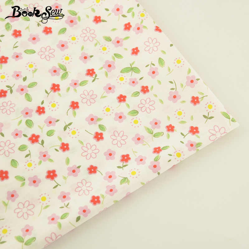 Booksew Printed Floral Designs Cotton Twill Fabric Soft Cloth Quilting DIY Patchwork Bedding Baby Scrapbooking Sewing Tissue