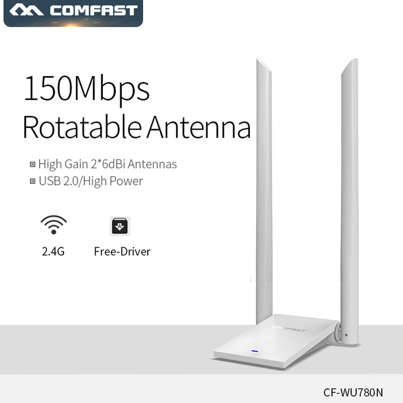 COMFAST CF-WU780N High Power Dual Wifi Antenna 2Wifi Adapter Wireless Network Card 6db Driverless Drive Rtl8188gu WiFi Receiver
