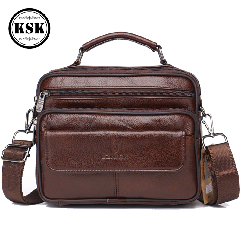 Men's Genuine Leather Bag Messenger Bag CrossBody Bags Shoulder Handbag Male Luxury Handbags 2019 Fashion Flap Pocket KSK