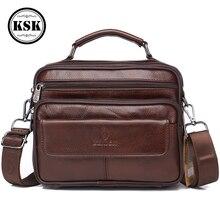 Mens Genuine Leather Bag Messenger Bag CrossBody Bags Shoulder Handbag Male Luxury Handbags 2019 Fashion Flap Pocket KSK