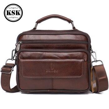 Men's Genuine Leather Bag Messenger Bag CrossBody Bags Shoulder Handbag Male Luxury Handbags 2019 Fashion Flap Pocket KSK