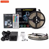 RGB LED Strip Lights Kit 2X5M SMD 3528 60LEDs/m DC 12V Waterproof IP65 Flexible Lamp Band 72W Power Adapter IR Remote Controller