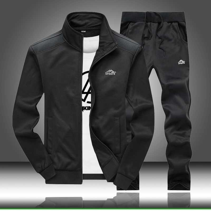 Track Suit Men Sportswear Fleece Warm Hoodies Set Clothes Casual Outerwear Fitness Stand Collar Sweatshirts Jacket + Pants Sets