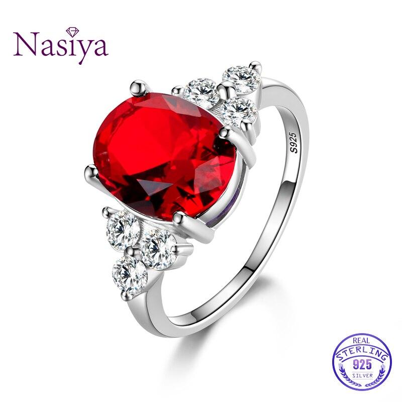 แหวนสตรี 925 แหวนเงินแท้รูปไข่ AAAAA Royal Blue สีแดงมรกตสีเขียว Olive Zircon แหวนงานแต่งงานของขวัญ