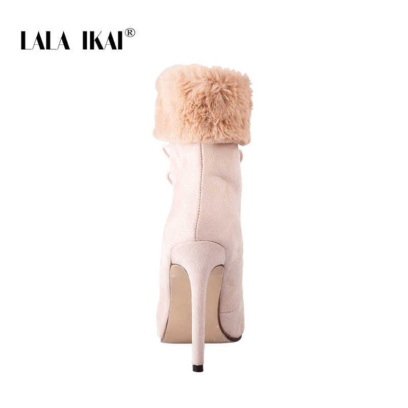 LALA IKAI Yüksek Topuk yarım çizmeler Kadınlar Için Dantel-Up Kürk Süet Sivri Burun Peluş Bayanlar Kış Çizmeler Ayakkabı 014C2481 -4