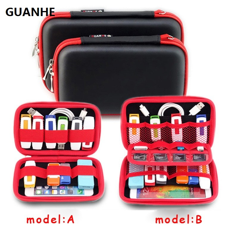 GUANHE Hard Drive Accessories Storage Bag for WD seagate HDD, Phone, USB Cable, U Disk, SD Card, Power Bank Travel Organizer