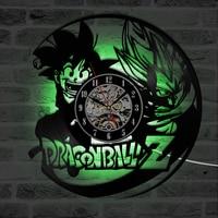 Dragon Ball LED Wall Clock Modern Design Classic CD Clocks Mute Seven Colors Change Backlight Vinyl