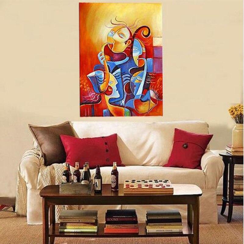 Modern Wall Art Imagem Mão Pintado Colorido Figura Pinturas A Óleo Sobre  Tela Abstrato Enfrenta Acrílico Pinturas Feitas À Mão Papel De Parede Em  Pintura ...
