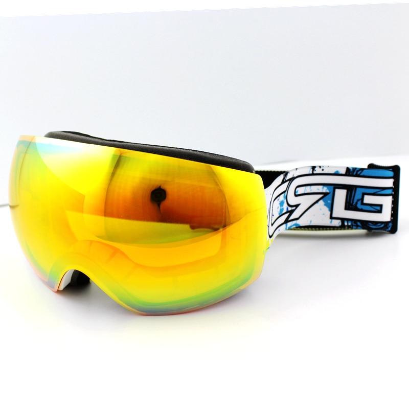 Prix pour Nouvelle Marque Ski Lunettes Double UV400 Anti-Brouillard Grand Masque de Ski Lunettes de Ski Hommes Femmes Neige Snowboard Lunettes Jaune lentille