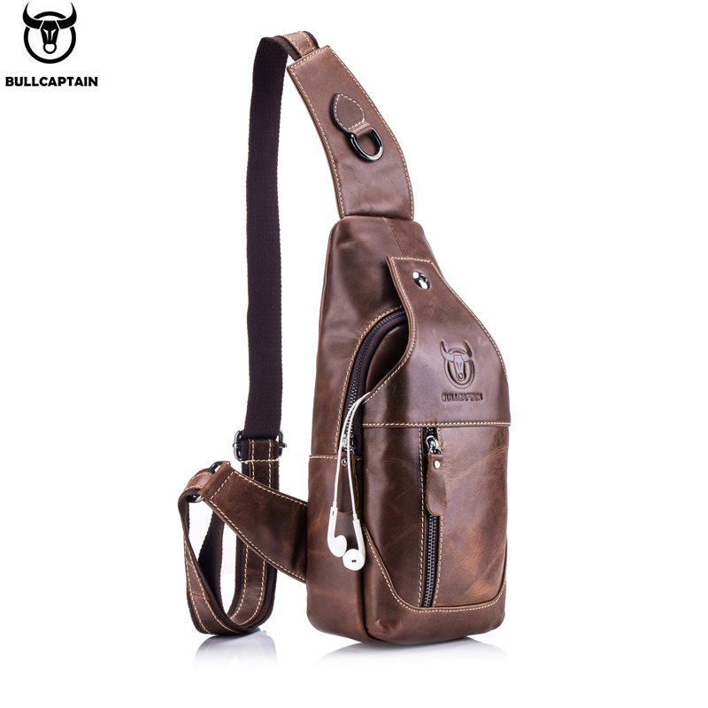 BULLCAPTAIN Fashion Genuine Leather Crossbody Bags men casual messenger bag Small Brand Designer Male Shoulder Bag Chest Pack