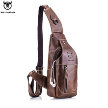 BULLCAPTAIN Fashion Genuine Leather Crossbody Bags men casual messenger bag Small Brand Designer Male Shoulder Bag Chest Pack(China)