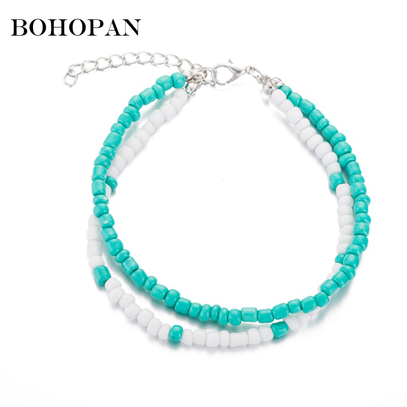 Double Layer Beads Anklet For Women Green White Resin Bead Simple Anklets Holiday Beach Foot Jewelry Female Bohemian Accessories
