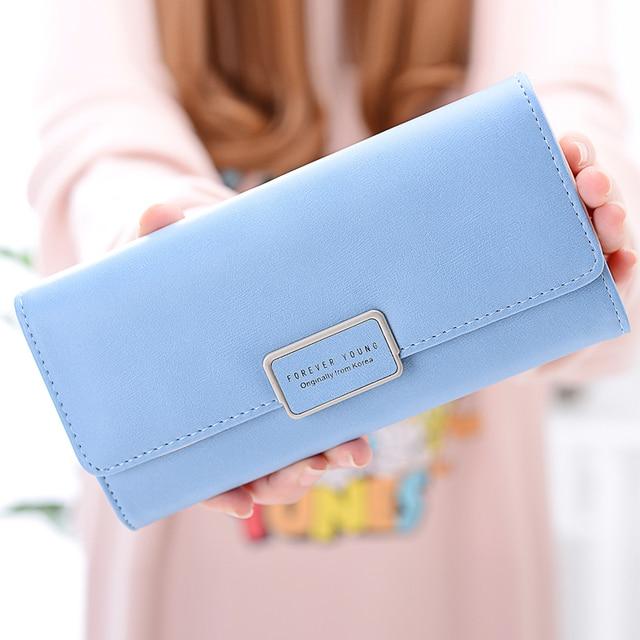 747b0135b830 MONNET CAUTHY New Women's Wallet Multi card Slot Sweet Girl Fashion Candy  Color Pink Blue Black Grey Green Standard Long Wallets