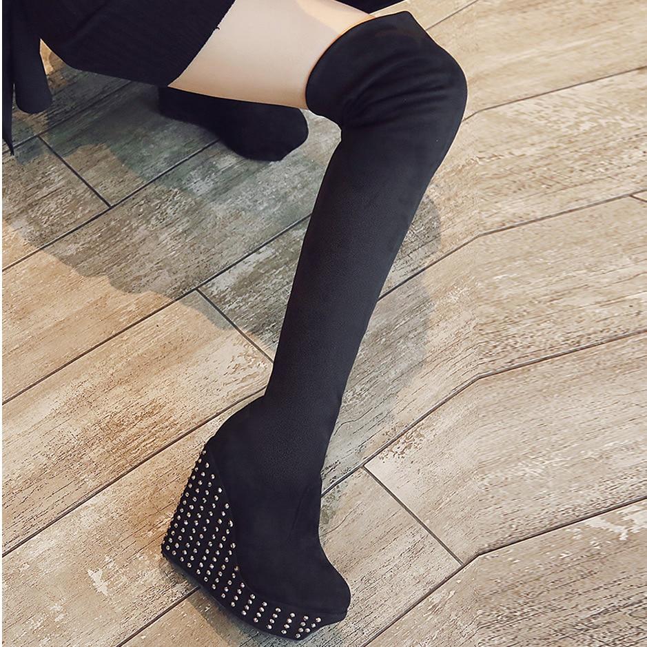 Genou Talons Sur Femme Black Flock Wb1420 Rivet Plate Lace Épais forme Bottes D'hiver Coins Le Chaussures Femmes Haute marron Fond Cuissardes Up nn4BX7
