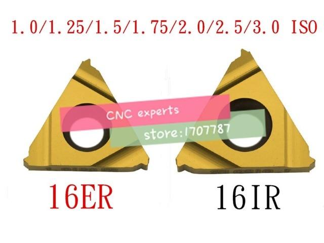 10 pièces 16ER 16IR 16 ER IR 1.0/1.25/1.5/1.75/2.0/2.5/3.0/ISO, tour à filetage en carbure de tungstène Indexable insère métrique interne