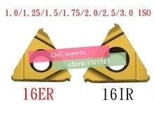 10 piezas 16ER 16IR 16 ER IR 1,0/1,25/1,5/1,75/2,0/2,5/3,0 ISO torno roscado de carburo de tungsteno Indexable inserta métrica interna