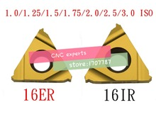 10 stücke 16ER 16IR 16 ER IR 1,0/1,25/1,5/1,75/2,0/2,5/3,0 ISO, wendehartmetall gewinde Drehmaschine Einsätze interne Metric