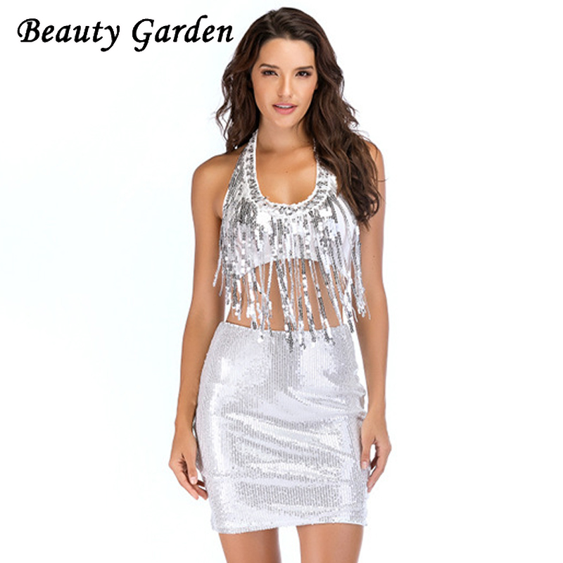 Beauty Fashion Group: Beauty Garden Fashion Solid Women Sets Sleeveless Halter
