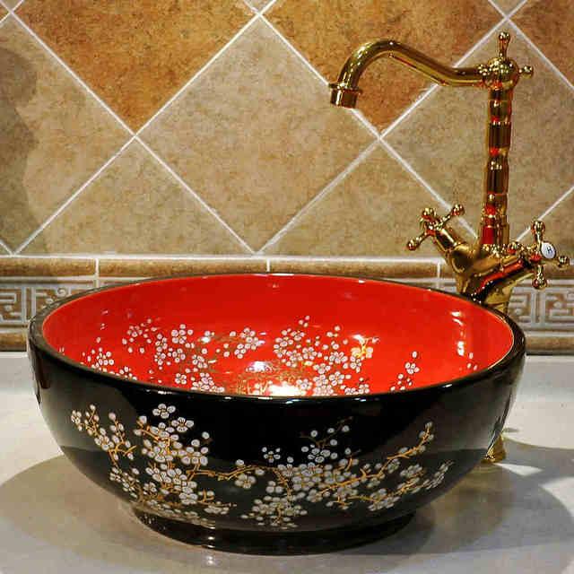 China Künstlerische Handgefertigte Keramik Waschbecken Lavobo Rund