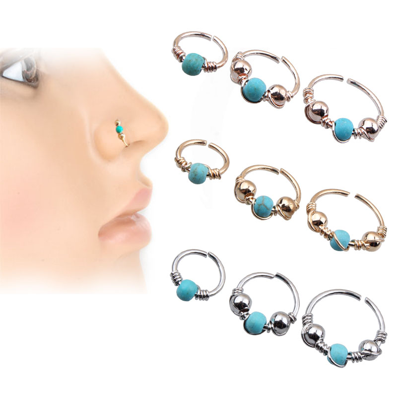 New Product Blue Stone Hoop Helix Piercing Ear Cartilage