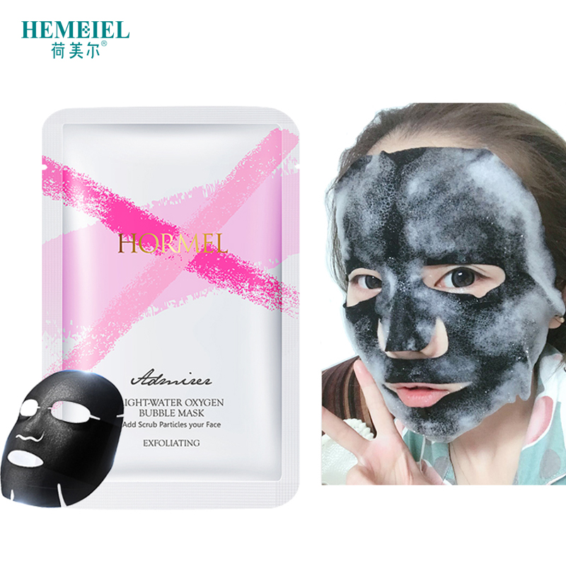 лучшая цена HEMEIEL Detox Oxygen Bubble Sheet Mask Korean Cosmetic Moisturizing Bamboo Charcoal Black Face Mask Facial Whitening Skin Care