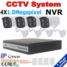 Monitoring system 720P Outdoor night vision P2P IP Camera with 4ch 1080P Motion detect NVR and free power supply CCTV System