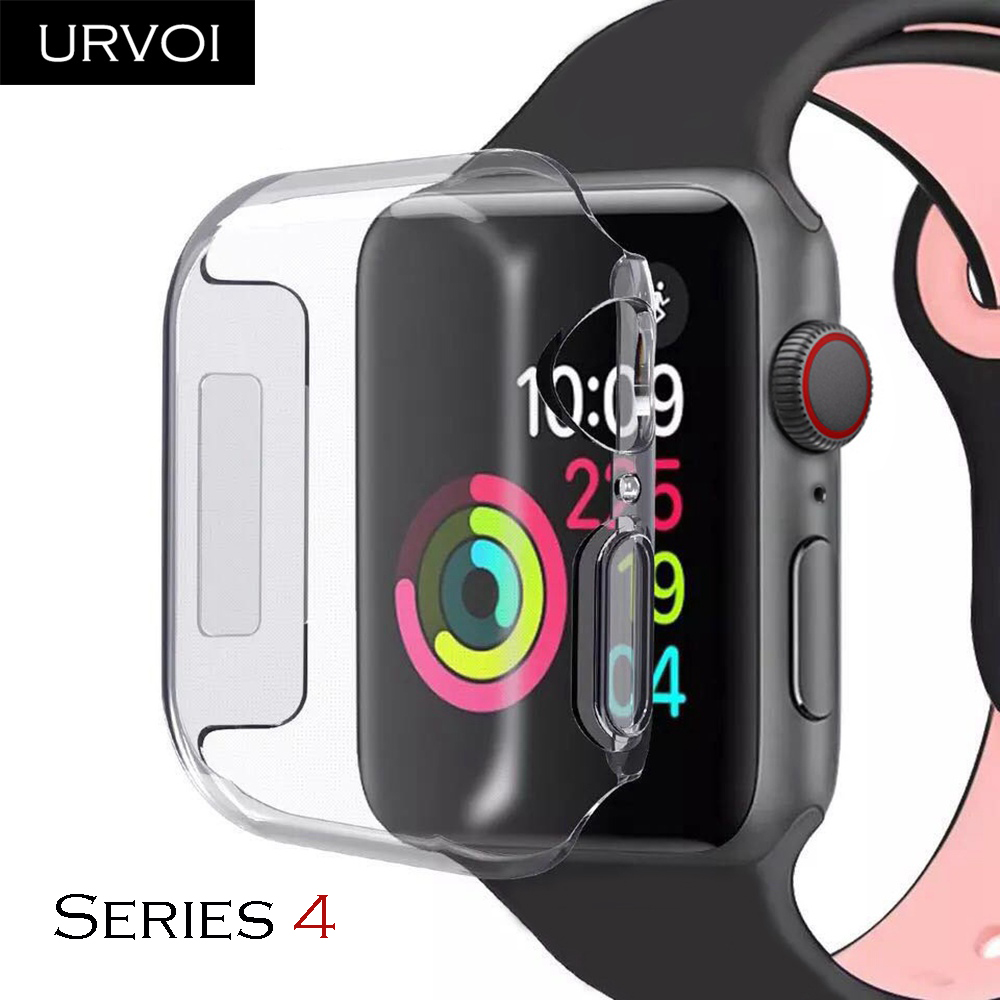 selezione migliore ff0b2 8f151 US $2.07 55% OFF|URVOI soft TPU case for apple watch series 4 cover full  screen protector for iWatch 40 44mm slim fit Ultra thin Clear frame band-in  ...