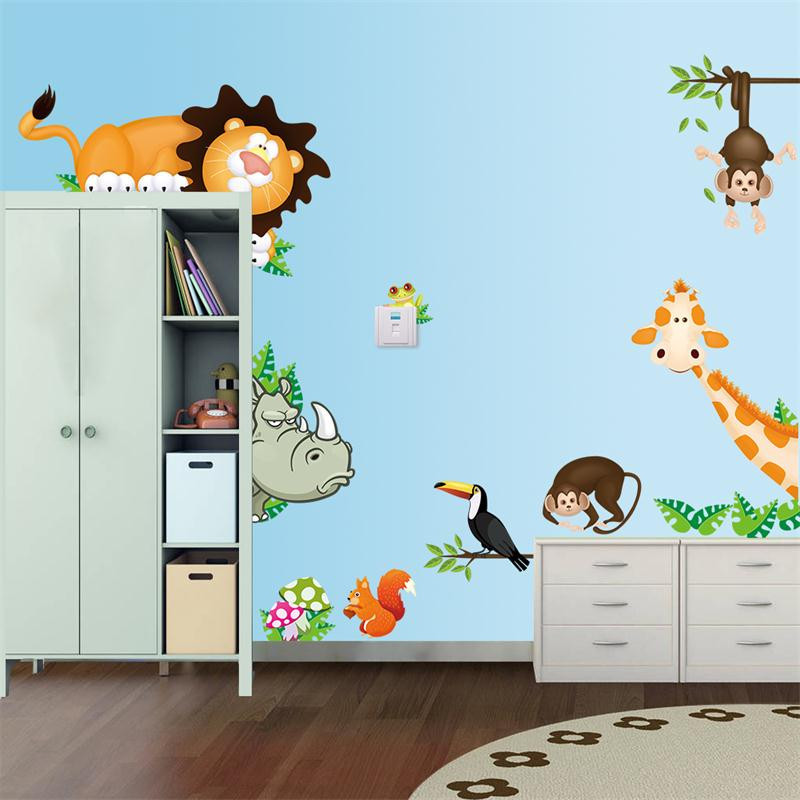 Nice Cute Animal Live In Your Home DIY Wall Stickers Jungle Forest Theme  Wallpaper Gifts For Kids Part 19