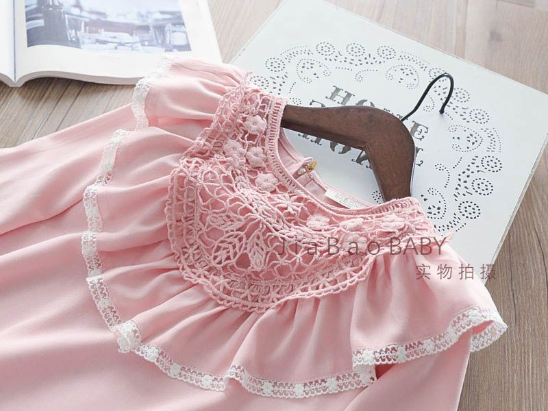 Autumn Girls Crochet Lace Flower Blouse Baby Girl Princess Hallow Out Clothes Shirt Babies Chiffon Jumper tops kids clothing