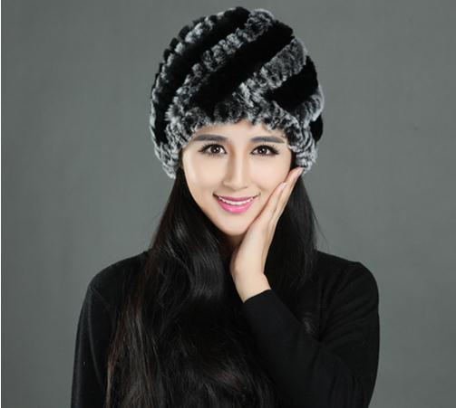Woman Autumn Plus Size Striped 100% Rabbit Fur Protection Ear Hats Female Winter Stretch Thick Warm Skullies Beanies Caps