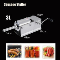Free By DHL 1PC 3L Horizontal Type Manual Sausage Stuffer Stainless Steel Sausage Stuffer Meat Filler