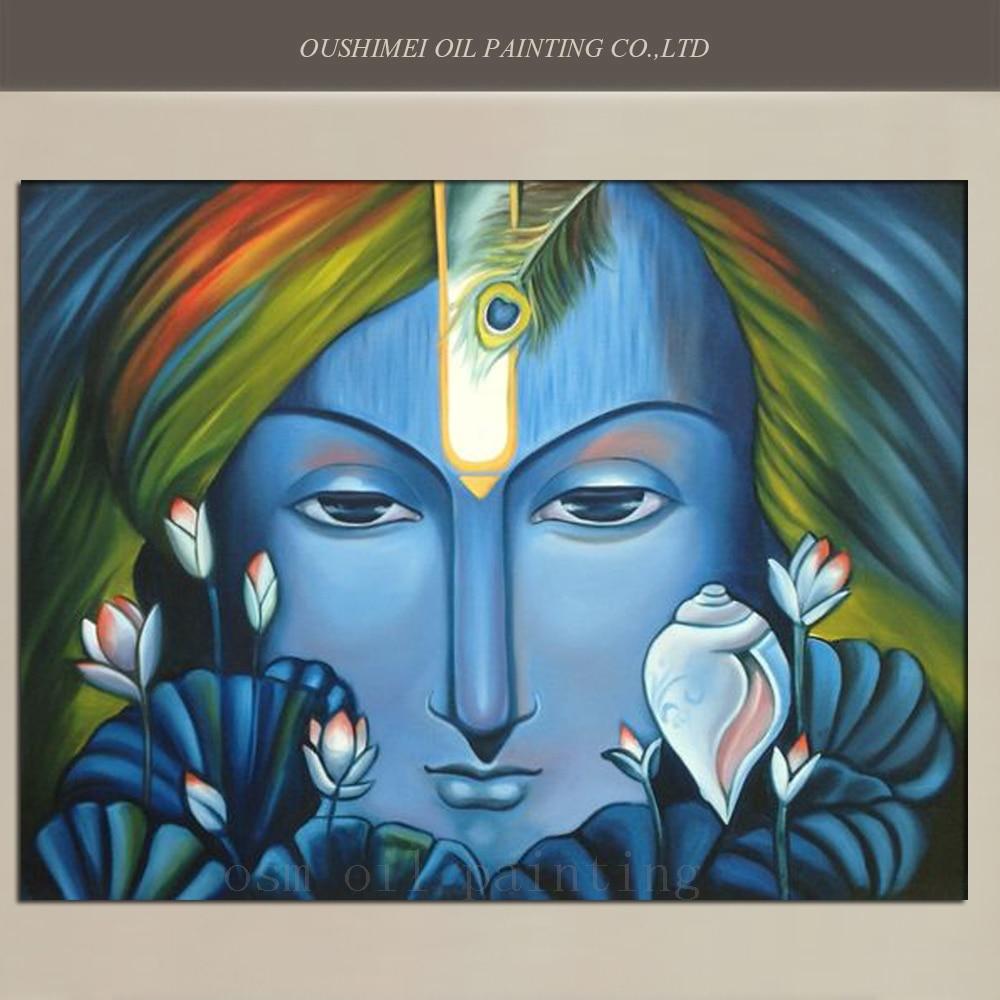 №Alta artista abstracto moderno hecho a mano deidad hindú retrato ...