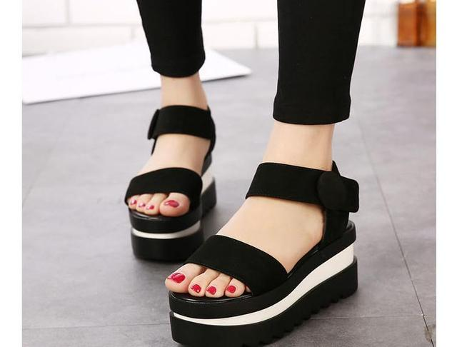 fc20b60105f97 Cheap Wedge Sandals Summer Style Black Ankle Strap Hook and Loop Platform  High Heel Open Toe Wedges Shoes Women Sandals 2015