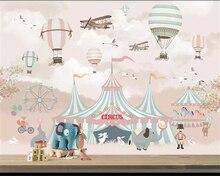 Купить с кэшбэком Beibehang Large 3d Wallpaper 3 photo Cartoon Hot Air Balloon Airplane Animal Pup Circus Playground Background Wall 3d wallpaper