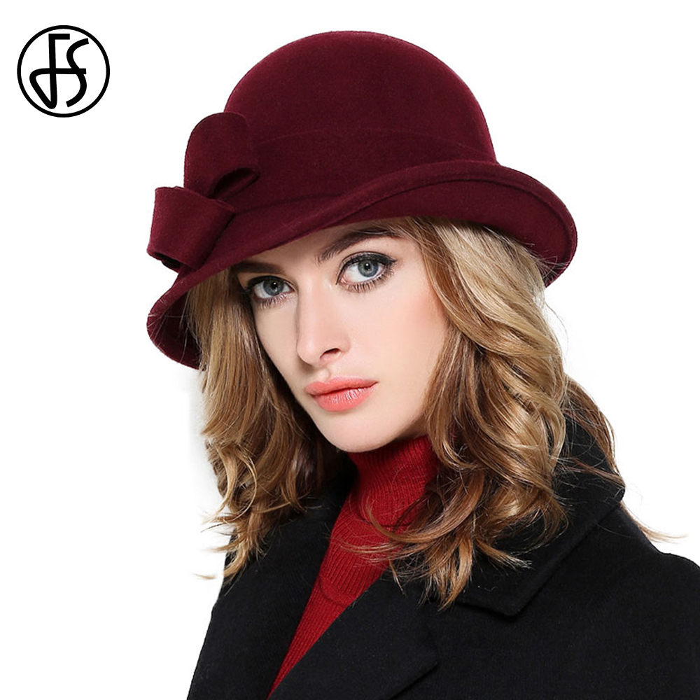 afea5205ba881a Detail Feedback Questions about FS Wool Felt Bowler Fedora Hat For Women  Elegant Ladies Vintage Wide Brim Winter Church Cloche Hats With Bowknot  Wine Red ...