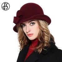 FS Wool Felt Bowler Fedora Hat For Women Elegant Ladies Vintage Wide Brim Winter Church Cloche Hats With Bowknot Wine Red Cap