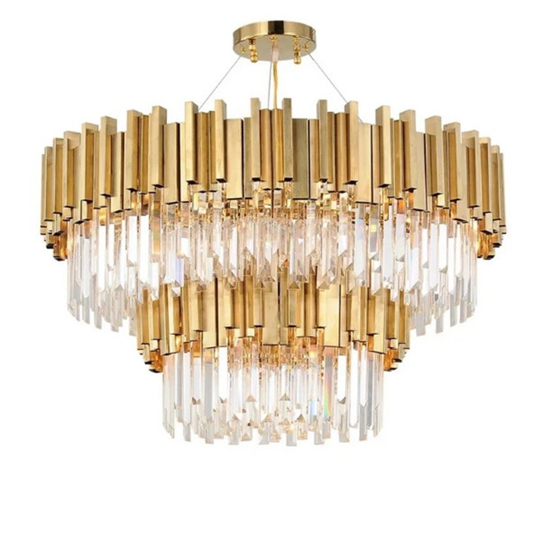 Living Room Luxury Gold Steel K9 Crystal Led Pendant Chandelier Luminaria Hanging Lamp Indoor Lighting Lamparas Fixture