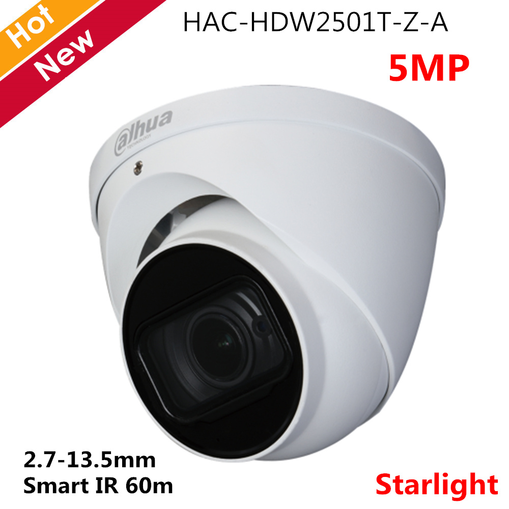 Dahua 5mp Starlight HDCVI Camera IR Eyeball Camera 2.7-13.5mm Motorized Lens Smart IR 60m Built-in Mic Audio In Interface