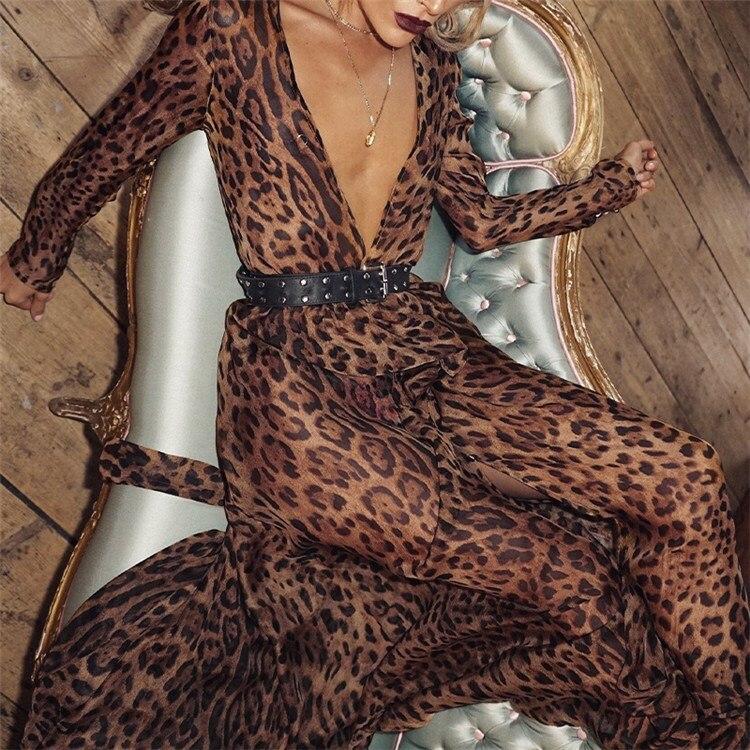 e06c0bff3668 Detail Feedback Questions about Women Beach Dress Brown Leopard Print Maxi  Dress Long Sleeve Sexy Deep V Neck Chiffon Dress on Aliexpress.com |  alibaba ...
