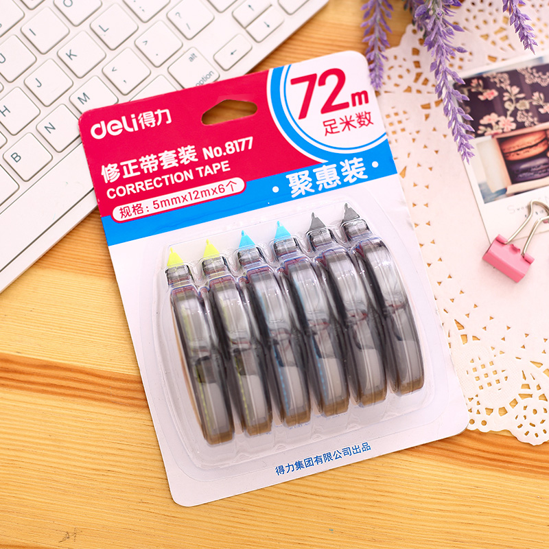 6Pcs 72 Meters Correction Tapes Each One Is 5mmx12meters Office Stationery School Supplies Deli 8177