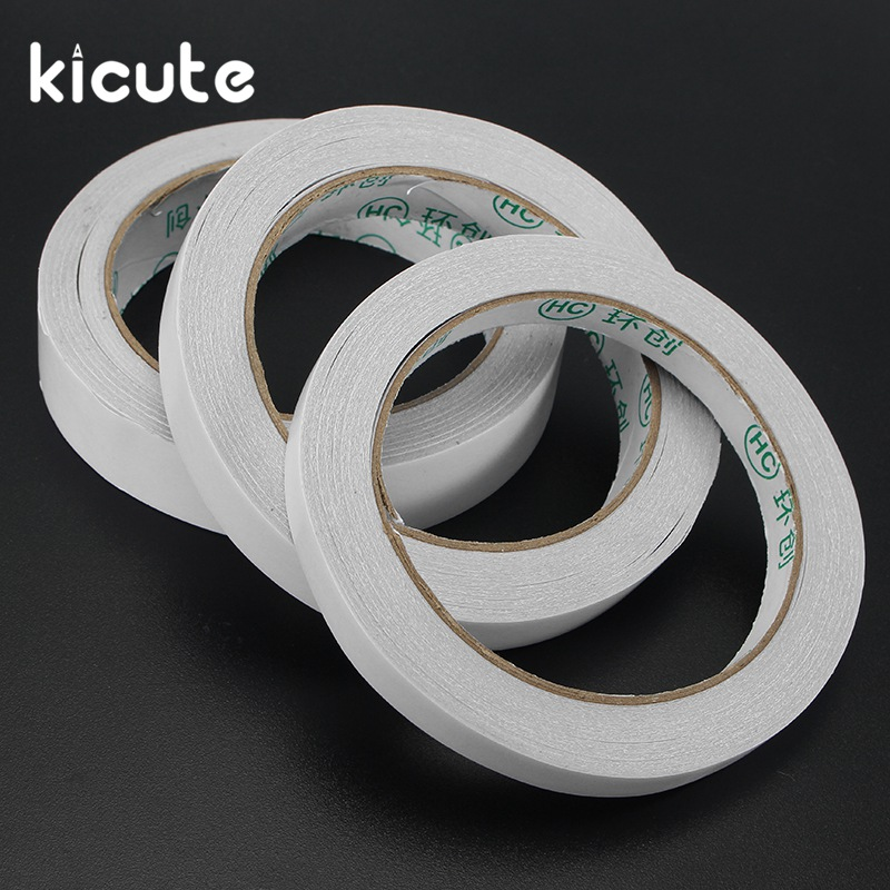 Kicute 5pcs/lot 10/15/20mm 20M White Double Sided Tape Roll Strong Adhesive Sticky DIY Crafts Top Quality School Office Supplies 1 pcs deli 2 4cm 10y super slim strong adhesion white double sided tape doubles faced adhesive for office supplies