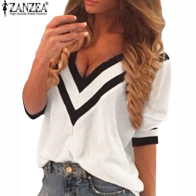 New 2018 Zanzea Spring Women Sexy Tee Tops Casual Deep V Neck Splicing Blouse Ladies Loose 3/4 Sleeve Blusas Femininas Hot Sale