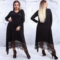 Lguc.H Thick Soft Velvet Large Size Dress 2019 Long Sleeve Big Plus Size Long Dress Women Spring Autumn Clothes Black 6XL 5XL