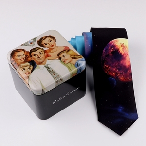 Image 2 - Design Creative Print Tie Boys and Girls Party Birthday Youth Gift Trend Personality Blue Planet Tie