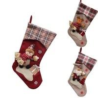 New Year Christmas Stockings Socks Plaid Santa Claus Candy Gift Bag Xmas Tree Hanging Ornament Decoration
